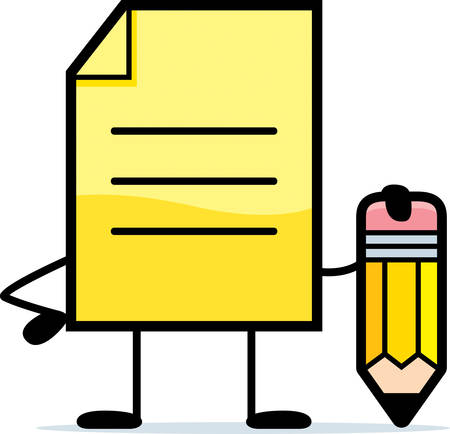sticky note: A cartoon illustration of a yellow note with a pencil. Illustration
