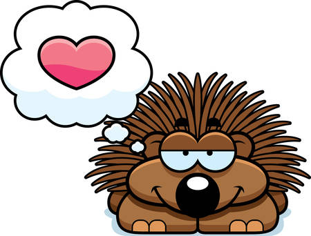porcupine: A cartoon illustration of a little porcupine with an in love expression.