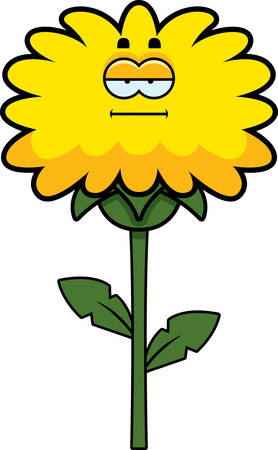 mild: A cartoon illustration of a dandelion looking calm.