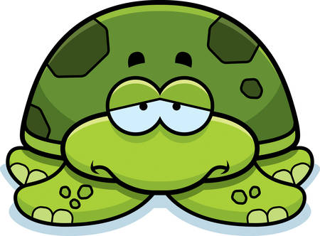frowning: A cartoon illustration of a little sea turtle with a sad expression.