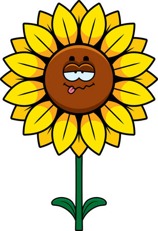 A cartoon illustration of a sunflower looking sick. Çizim
