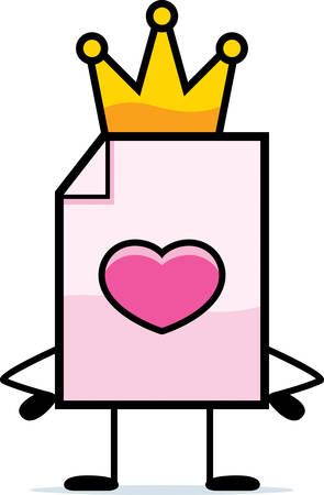 king and queen of hearts: A cartoon illustration of a valentine with a crown.