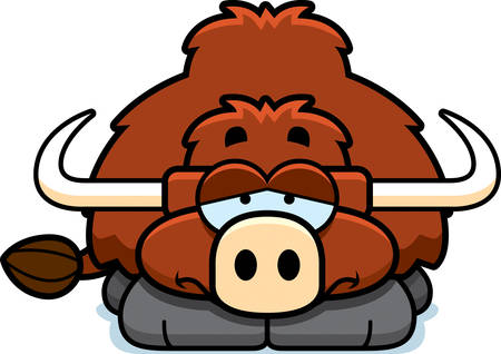 A cartoon illustration of a little yak with a sad expression.