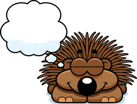 porcupine: A cartoon illustration of a little porcupine dreaming. Illustration