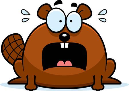 terrified: A cartoon illustration of a beaver looking terrified.
