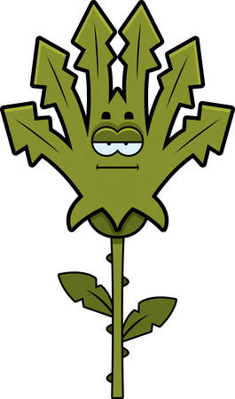 A cartoon illustration of a weed looking calm.