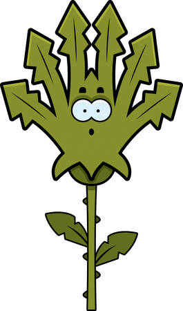 weeds: A cartoon illustration of a weed looking surprised. Illustration