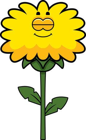 A cartoon illustration of a dandelion sleeping.