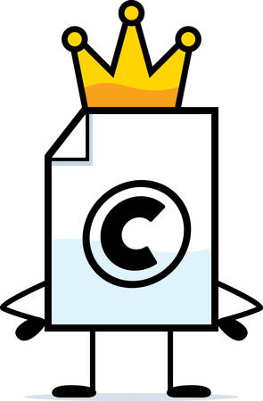 Een cartoon illustratie van een auteursrechtelijk beschermd bestand met een kroon.