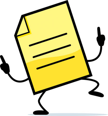 A cartoon illustration of a yellow note dancing.