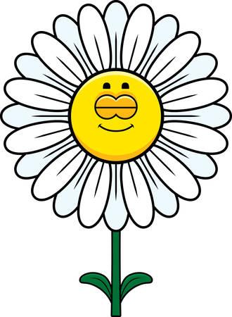 A cartoon illustration of a daisy sleeping.