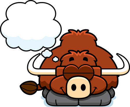 yak: A cartoon illustration of a little yak dreaming.