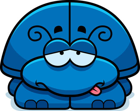 nauseous: A cartoon illustration of a little beetle looking sick.
