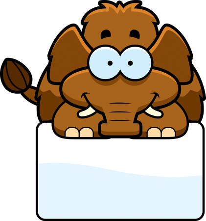 woolly: A cartoon illustration of a little mammoth with a white sign.
