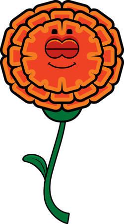 A cartoon illustration of a marigold sleeping. Иллюстрация