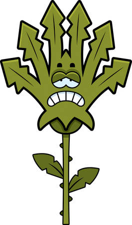 scowl: A cartoon illustration of a weed looking sad.