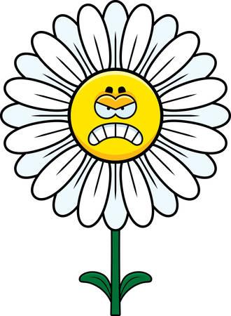 A cartoon illustration of a daisy looking angry. 向量圖像