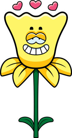 infatuated: A cartoon illustration of a daffodil with an in love expression.