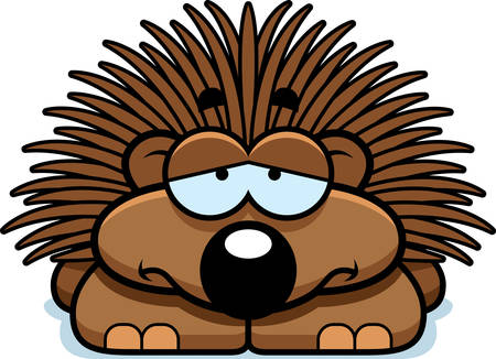 scowl: A cartoon illustration of a little porcupine with a sad expression. Illustration