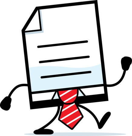 A cartoon illustration of a business document walking.