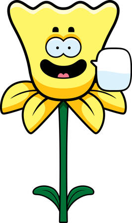 daffodil: A cartoon illustration of a daffodil talking.