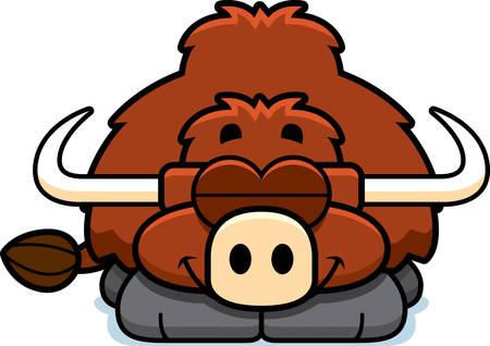 A cartoon illustration of a little yak sleeping. 向量圖像