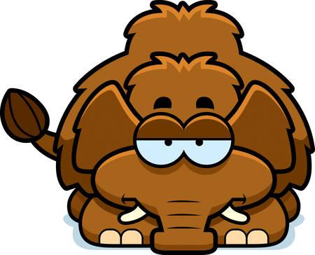 mild: A cartoon illustration of a little mammoth looking bored. Illustration