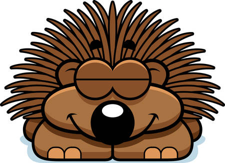 porcupine: A cartoon illustration of a little porcupine sleeping.