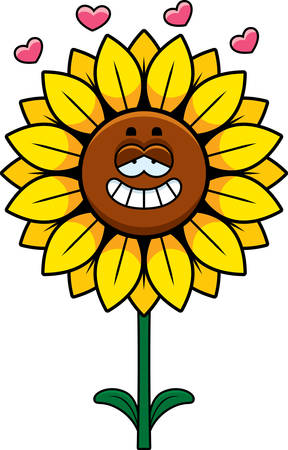 A cartoon illustration of a sunflower with an in love expression.