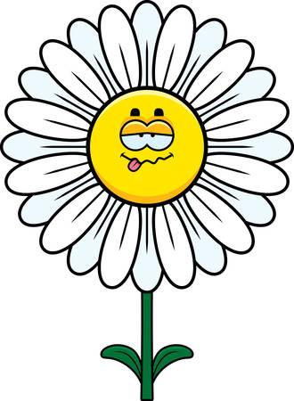 A cartoon illustration of a daisy looking sick.