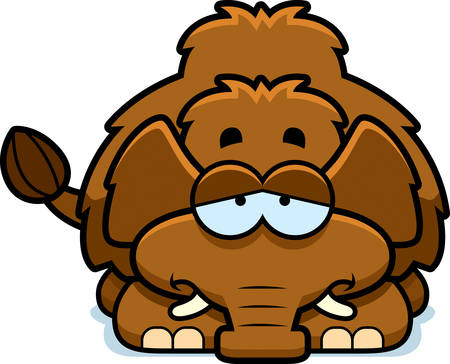 woolly: A cartoon illustration of a little mammoth with a sad expression.