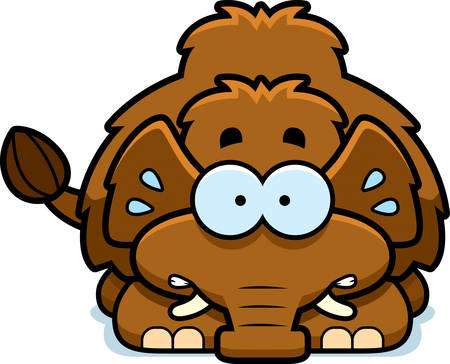 woolly: A cartoon illustration of a little mammoth looking nervous.