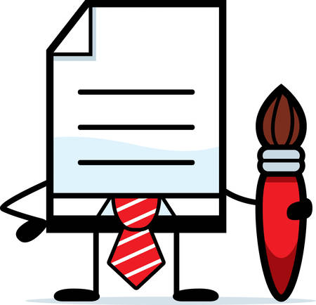 creative arts: A cartoon illustration of a business document with a paintbrush. Illustration