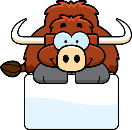 A cartoon illustration of a little yak with a white sign. 向量圖像