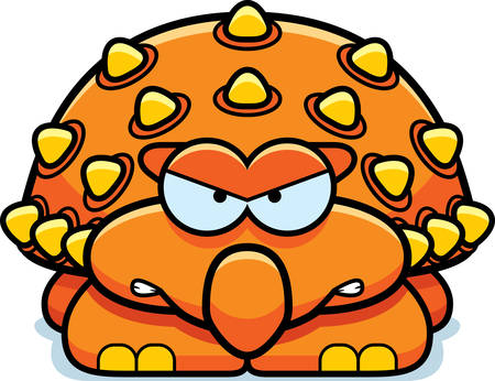 ankylosaurus: A cartoon illustration of a little ankylosaurus with an angry expression.
