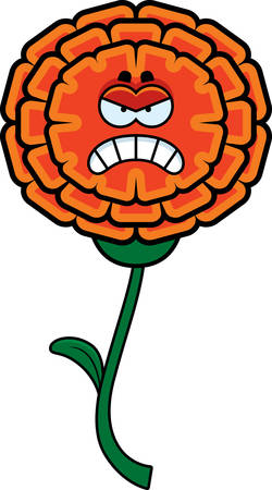 A cartoon illustration of a marigold looking angry.