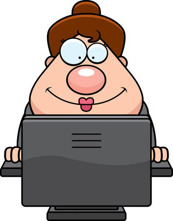A cartoon illustration of a business woman using a computer.