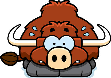 A cartoon illustration of a little yak looking nervous. 向量圖像