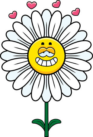 enamored: A cartoon illustration of a daisy with an in love expression.