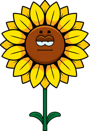 A cartoon illustration of a sunflower looking calm.