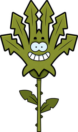 A cartoon illustration of a weed looking happy.