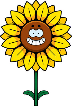 A cartoon illustration of a sunflower looking happy.