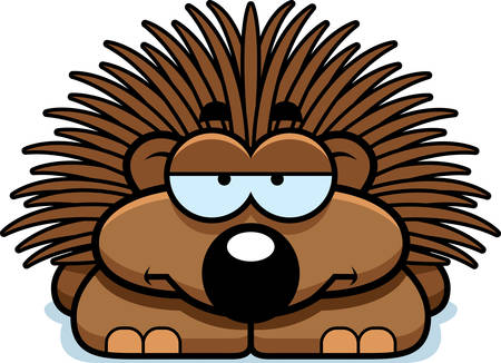 A cartoon illustration of a little porcupine looking bored.