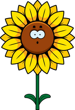 A cartoon illustration of a sunflower looking surprised.