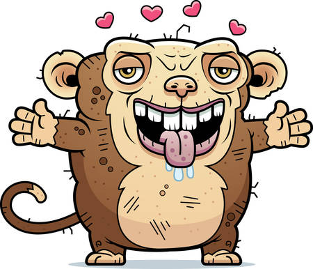 beastly: A cartoon illustration of an ugly monkey ready to give a hug.