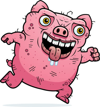 hideous: A cartoon illustration of an ugly pig running. Illustration
