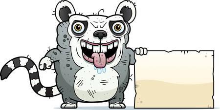 A cartoon illustration of an ugly lemur with a sign.