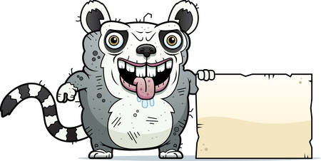 monstrous: A cartoon illustration of an ugly lemur with a sign.