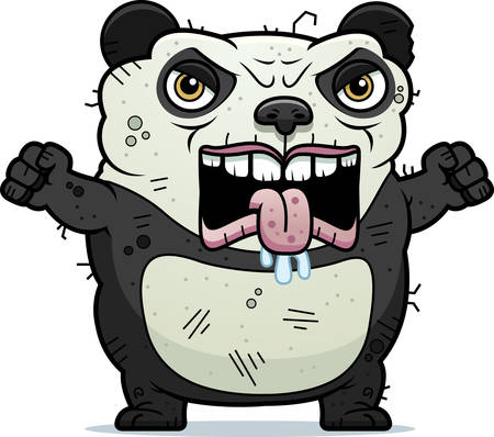 A cartoon illustration of an ugly panda bear looking angry.