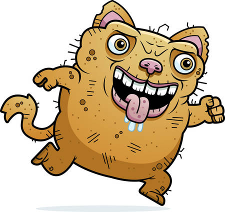 awful: A cartoon illustration of an ugly cat running.